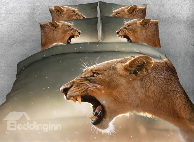 3d Roaring Brown Lion Printed 5-piece Comforter Sets