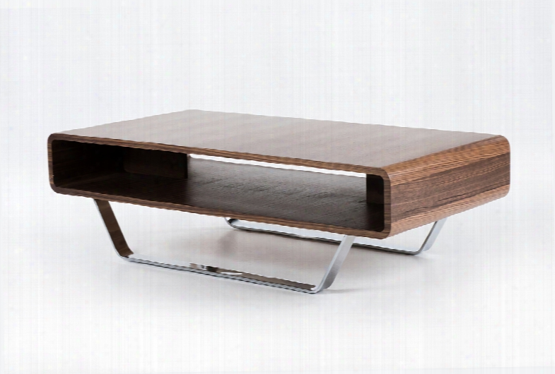Avis Mid-century Walnut Matte Coffee Table