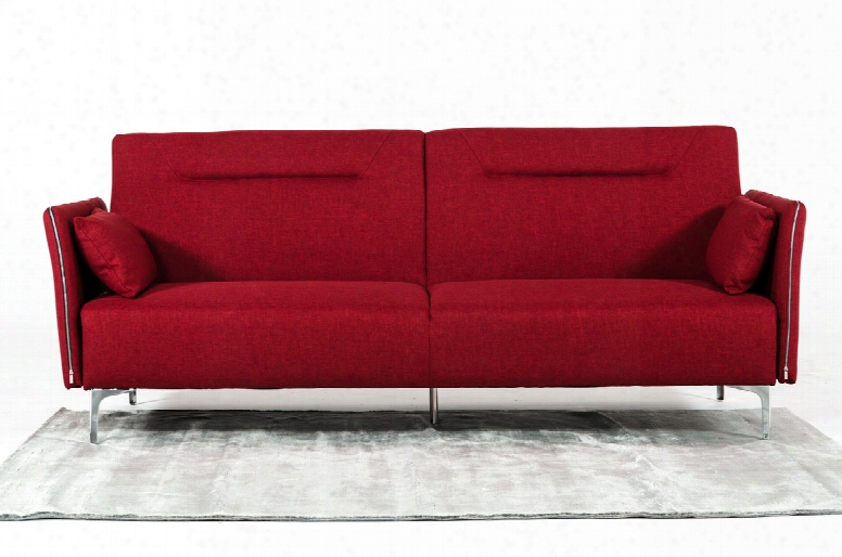 Davenport Mid-century Red Fabric Single Sofa Bed