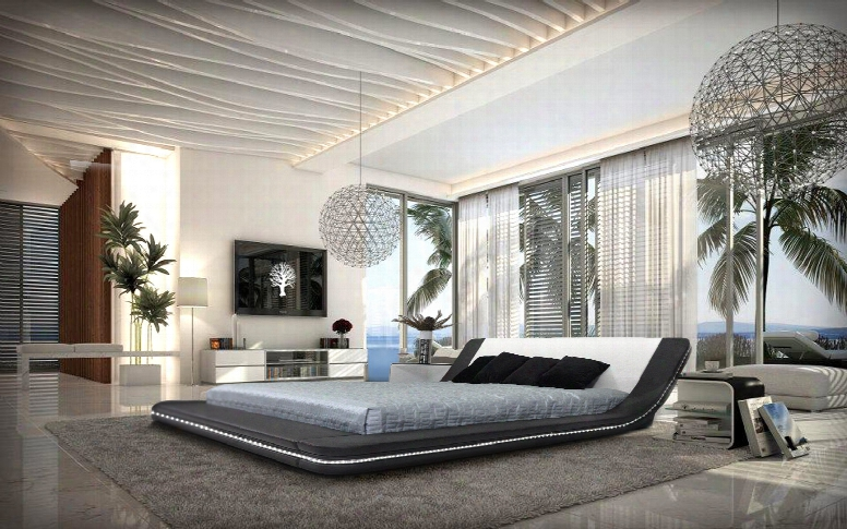 Marquee Contemporary Eco-leather Platform Bed W/ Led Lights