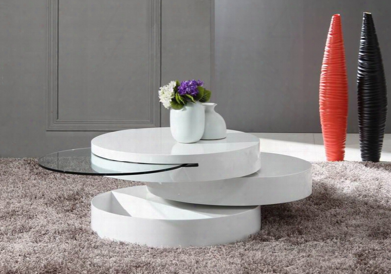 Tier Modern White Swivel Coffee Table