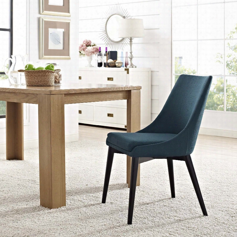 Viscount Fabric Dining Chair In Azure