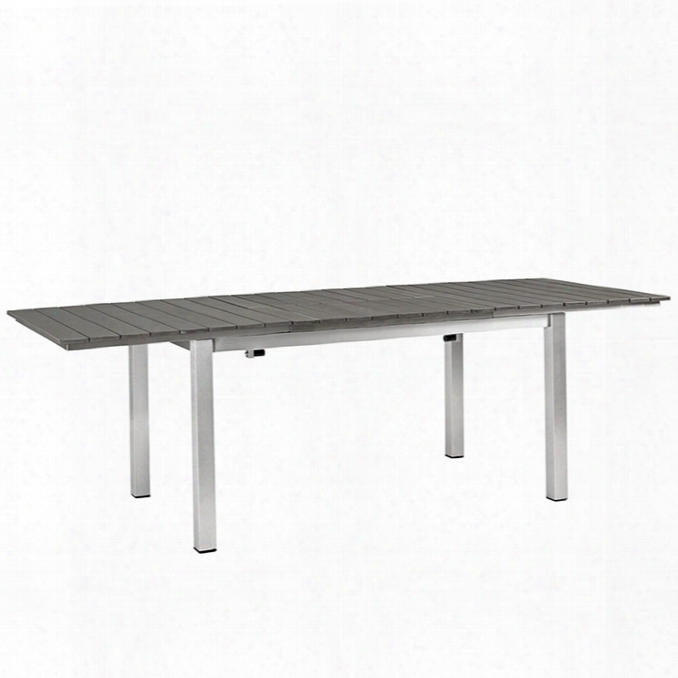 Shore Outdoor Patio Wood Dining Table In Silver Gray