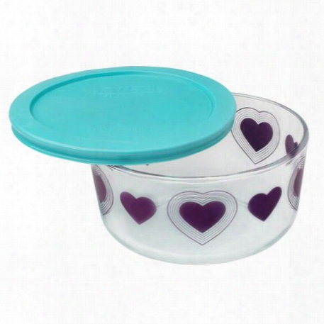 Simply Storageã'â® 4 Cup Big Hearts Storage Dish W/ Turquoise Lid