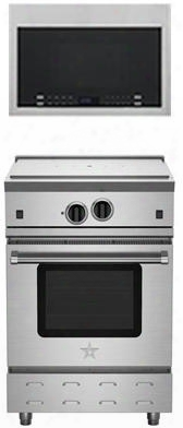 """2-piece Kitchen Package With Rnb24ftv2 24"""" Freestanding Gas Range And Hmv1472bhs 24"""" Over The Range Microwave Oven In Stainless"""