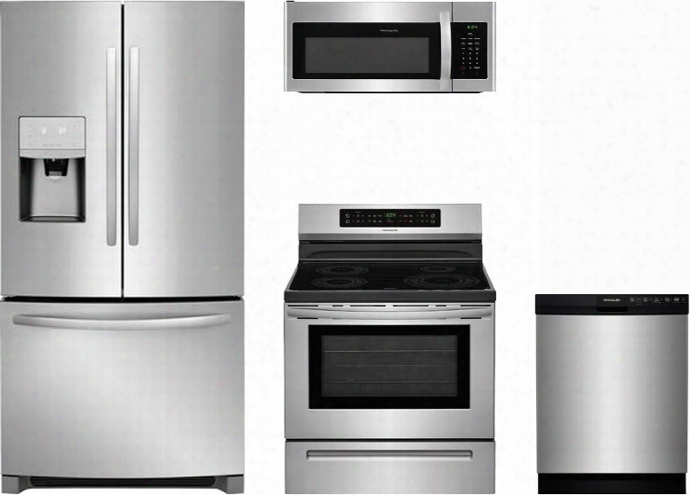 """4-piece Kitchen Stainless Steel Package With Ffhb2750ts 30"""" French Door Refrigerator Ffif3054ts 30"""" Electric Freestanding Range Ffmv1645ts 30"""" Over-the-range"""
