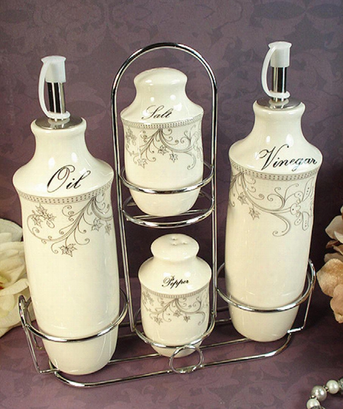 Cs35 D'lusso Designs Damask Design Four Piece Oil Vinegar Salt Pepper Set With Metal
