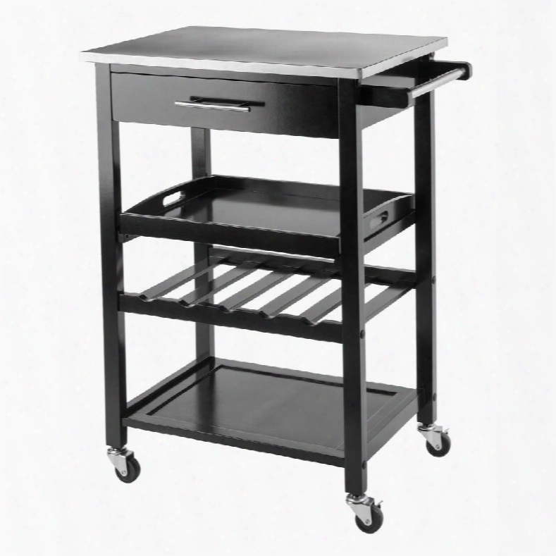 Anthony 20326 Kitchen Cart With Casters (2 Locking) Up To 5 Bottle Wine Storage Capacity And Top Drawer In