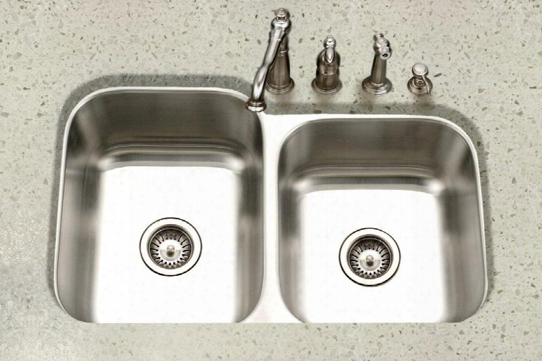 Pne-3300sr-1 Eston Series Undermount Stain Less Steel 60/40 Double Bowl Kitchen Sink Small Bowl Right 16