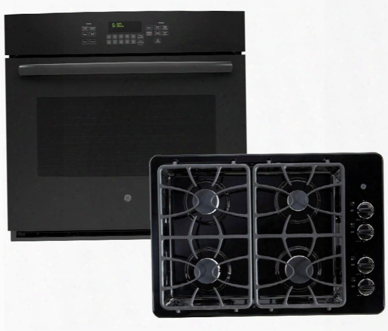 """2-piece Black Kitchen Bundle With Jt5000dfbb 30"""" Single Wall Oven And Jgp329detbb 30"""" Gas"""