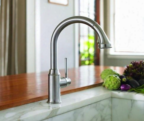 4215920 Single Handle Kitchen Faucet Higharc With Pull Down Spray And Metal Lever Handle From The Talis C Series: Rubbed