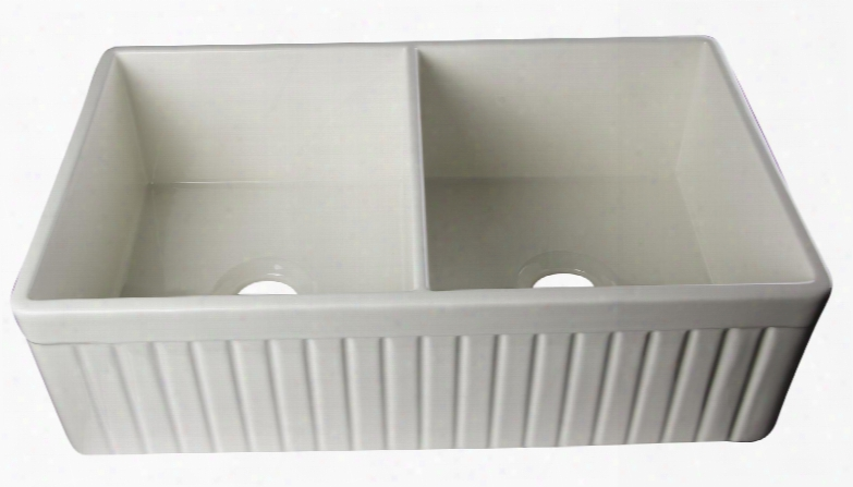 """Ab537-b 33"""" Fluted Apron Double Bowl Farmhouse Kitchen Sink With Fireclay And 3 1/2"""" Rear Center Drain In"""