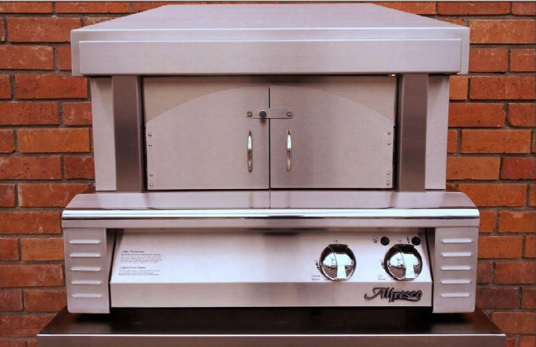 """Alfpza-ng 30"""" Natural Gas Ipzza Oven Plus With 456 Sq. In. Cooking Surface 40 000 Btus Ceramic Gas Log Rear Burner And Removable Arch And Doors In Stainless"""