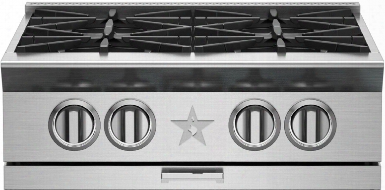 "Bsprt244b 24"" Platinum Series Gas Rangetop With 4 Open Burners Primanova 25 000 Btu Burner 130f Simmer Heavy-duty Control Knobs Integrated Wok Cooking And"