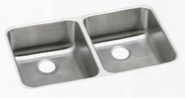 "Eluhd361855 Lustertone Stainless Steel 35-3/4"" X 18-1/2' Undermount Double Basin Kitchen Sink 5-3/8"" Depth: Stainless"