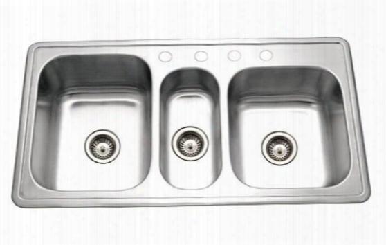 Pgt-4322-1 Premiere Gourmet Series Topmount Stainless Steel 4-hole Triple Bowl Kitchen