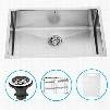 """VGR3019CK1 30"""" Undermount Single Bowl Kitchen Sink in 16-Gauge Stainless Steel with Embossed VIGO Cutting Board Grid and"""