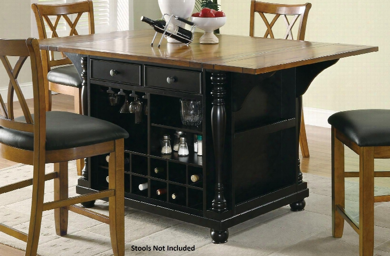 "Slater Collection 102270 42"" Extendable Kitchen Island With Drop Leaves Drawers Doors Built-in Wine Bottle Storage Stemware Rack And Spice Rack In Cherry"