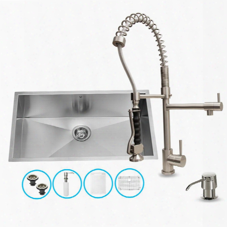 "Vg15066 32"" Stainless Steel Kitchen Sink Set With 27.25"" Stainless Steel Faucet Pull-out Spray Head Grids Strainers Embossed Vigo Cutting Board And Soap"