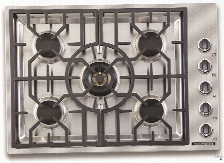 American Range Vitesse Series Ardct305l 30 Inch Gas Cooktop With 5 Sealed Burners, Continuous Grates, 73,000 Btu Of Total Cooking Output, Simmer Setting, Automatic Re-ignition, Die-cast Black Satin Knobs And Chrome Trim: Liquid Propane