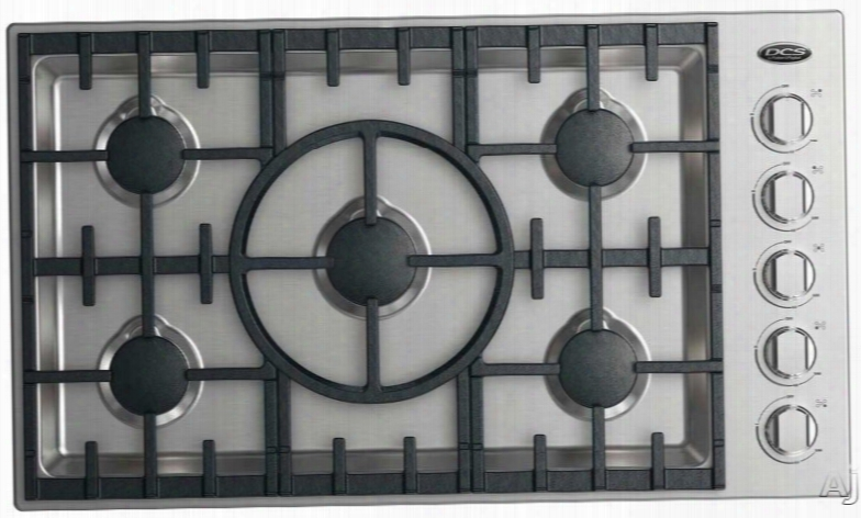 Dcs Cdv2365 L 36 Inch Gas Cooktop With 5 Sealed Dual Flow Burners, Simmer Setting On All Burnres, Dishwasher Safe Grates And Metal Knobs: Liquid Propane