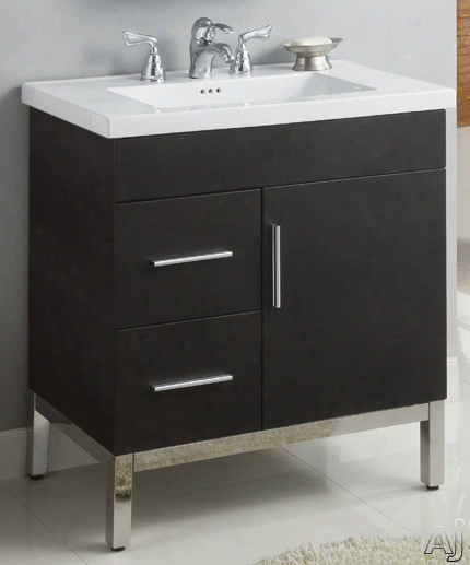 Empire Industries Daytona Colllection  Df3012popl 30 Inch Contemporar Vanity With 2 Drawers On Left Side, 1 Doo R, Blum Hinges And Optional 30 Inch Fiorella Countertop: Pickled Oak, Polished Frame