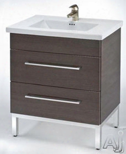 Empire Industries Daytona Collection Ds3002pop 30 Inch Contemporary Vanity With 2 Drawers, Blum Hinges And Optional 30 Inch Stone Countertop: Pickled Oak, Polished Frame