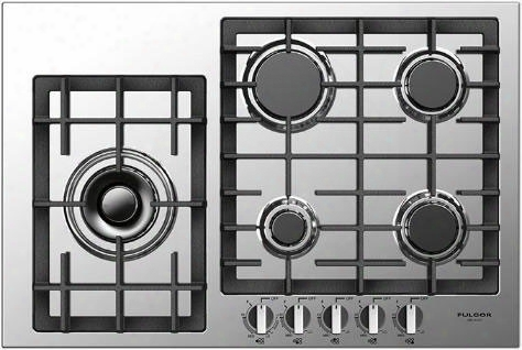 Fulgor Milano 400 Series F4gk30s1 30 Inch Gas Cooktop With 5 European Sealed Burners, Dual Crown Burner, Flame Out Sensing, Hsavy Duty Cast Iron Grates, Electronic Re-ignition And Largo Design