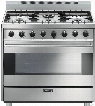Smeg Classic Design C36GG 36 Inch Freestanding Gas Range with 6 Sealed Burners, Cast Iron Grates, 4.4 cu. ft. Convection Oven, Ever-Clean Enamel Interior and 2 Oven Lights