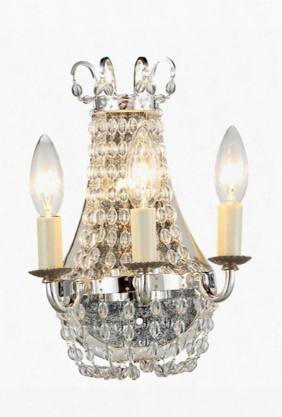 1433w8sn 1433 Roma Collection Wall Sconce W: 8inh: 11in Ext: 6in Lt: 3 Silver Nickel