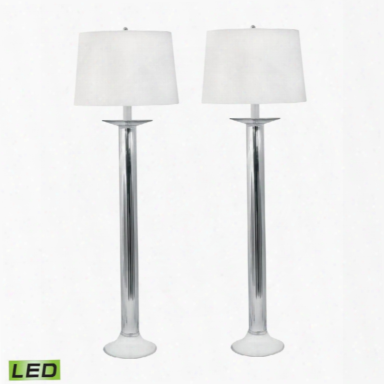 707/s2-led Mercury Glass Candlestick Led  Table