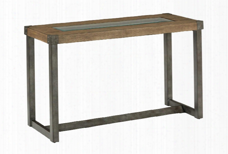 Freemont Collection 965-4 Sofa Table With Squared Metal Legs And Beveled Glass Insert In
