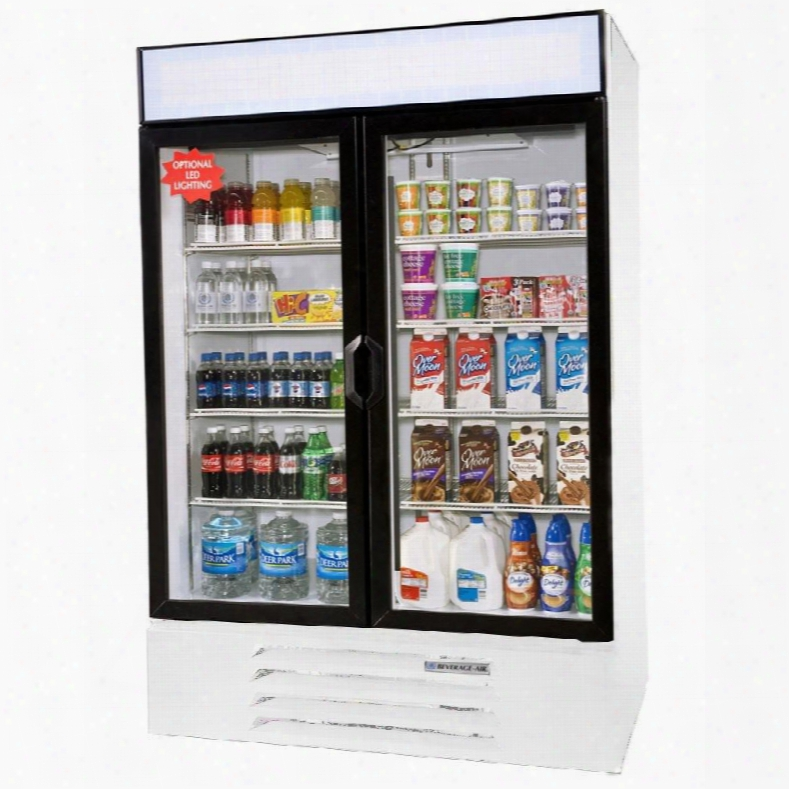 "Lv49-1-w-led Lumavue 52"" Two Section Refrigerated Glass Door Merchandiser With Led Lighting 49 Cu.ft. Capacity White Exterior And Bottom Mounted"
