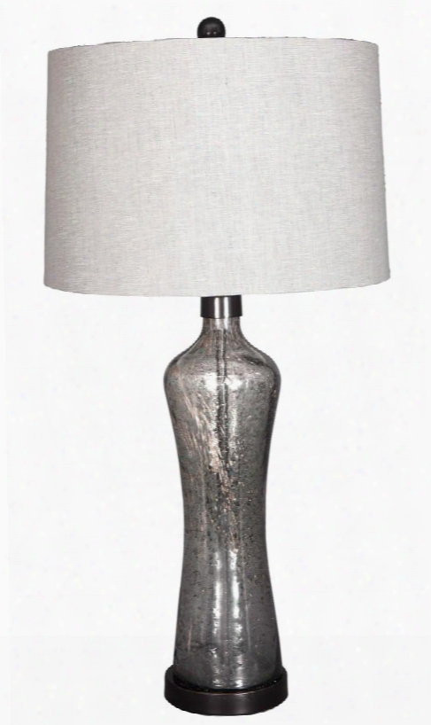 "Sharrona L430214 32.75"" Tall Glass Table Lamp With Sand Details On The Body Modified Drum Shade And 3-way Switch In"