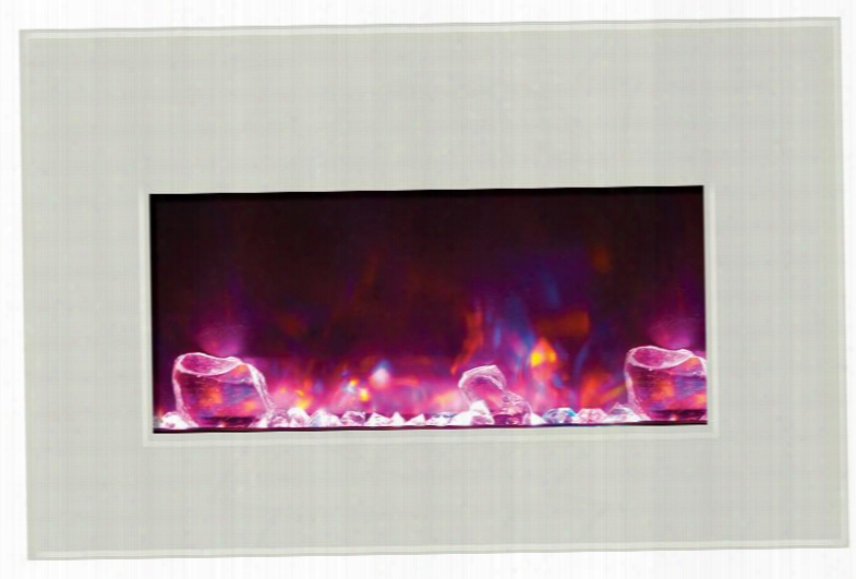 "Insert-30-4026-whtgls 30"" Medium Insert Electric Fireplace With 4 Stage Internal Back Lighting 4 Leveling Legs Led Light Technology And Led Ember Lights In"