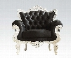 "Nels 59138 39"" Accent Chair with Rolled Arms Carved Crown Top Button Tufted Back and PU Leather Upholstery in Black"