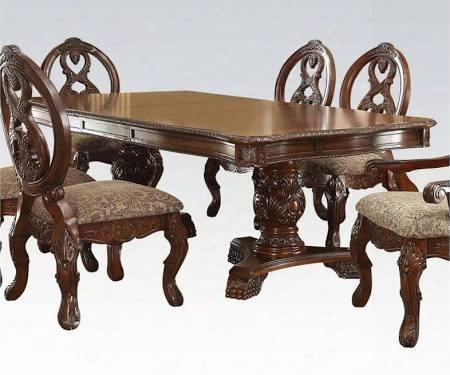 "Rovledo Collection 60800 80"" Extendable Dining Table With 2 Extension Leaves Double Pedestal Base Ornamental Details And Floral Carvings In Cherry"