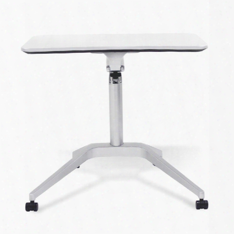 "200 Collection 201-wh 28"" - 41"" Workpad Stand Up Desk With Adjustable Height Casters Lacquered Aluminum Base Vacuumed Sealed Mdf And Ergonomic Curved Top In"