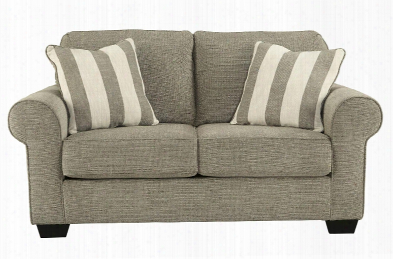 Baveria Collection 4760035 Loveseat With Fabric Upholstery Rolled Arms Block Feet Piped Stitching And Traditional Style In