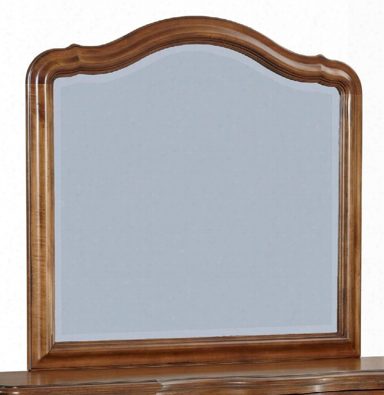 "Creswell 4818-236 43.875"" Dresser Mirror With Arched Top Beveled Edge And Molding Details In Distressed Cherry"