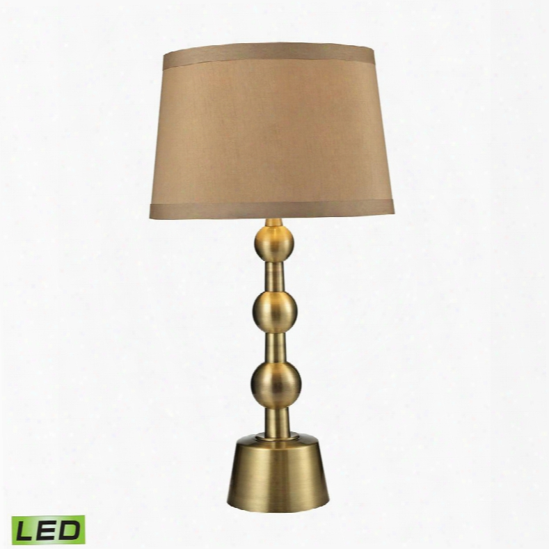 D2697-led Montpelier Led Table Lamp In Aged Brass With Light Taupe