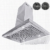 """AIR0A536 36"""" Island Mount Range Hood with 870 CFM 65 dB Centrifugal Motor Crisp Analog Push Buttons LED Lighting 3 Fan Speed Stainless Steel Grease"""