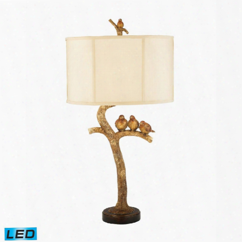 93-052-led Three Bird Light Led Table Lamp In Gold Leaf And