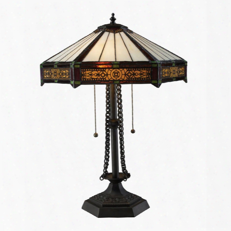D1852 Filigree 2 Light Table Lamp In Tiffany