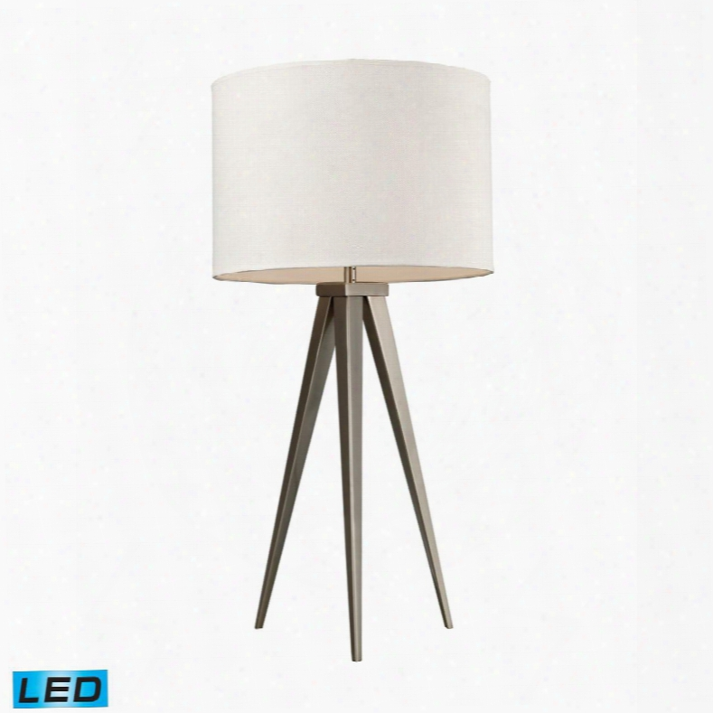 D2122-led Salford Led Table Lamp In Satin Nickel With Off White Linen