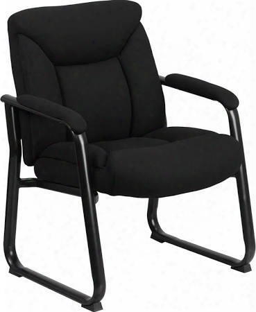 """Flash Furniture Go-207-7f-gg 39.25"""" Big & Tall 500 Lb. Capacity Executive Side Chair With Sled Base In Black"""