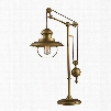 D2252 Farmhouse Table Lamp In Antique Brass With Matching Metal