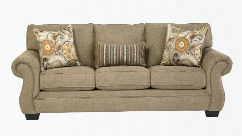 "Tailya Collection 4770038 89"" Sofa With Fabric Upholstery Piped Stitching Rolled Arms Block Feet And Traditional Style In"