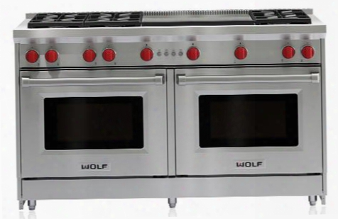 "Gr606dg-lp 60"" Gas Range With 8.8 Cu. Ft. Total Capacity Liquid Propane Fueled 6 Dual-stacked Sealed Burners Dual Infrared Griddle Infrared Broiler Red"