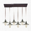 10332/6RC Hammered Glass Collection 6 Light chandelier in Oil Rubbed